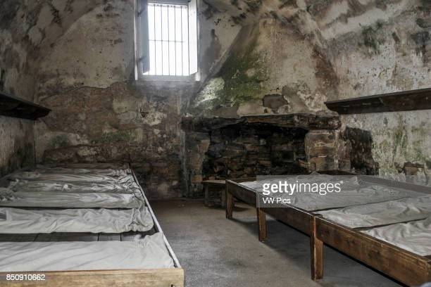 Inside of the guardroom with their beds of the Castillo de San Marcos National Monument St Augustine FloridA United States