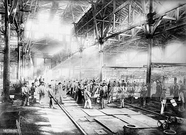 Inside of the Krupp factories, Essen , circa 1905.