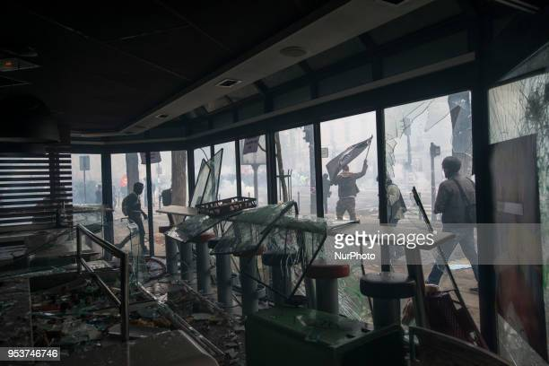 Inside of the smashed Mc Donald restaurant during the May Day rally in Paris Thousands of persons between 20 000 and 55 000 have gathered in the...