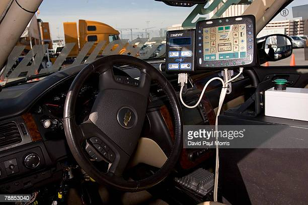 Inside of the 'The Boss' a driverless automobile is seen at the 2008 International Consumer Electronics Show at the Las Vegas Convention Center...