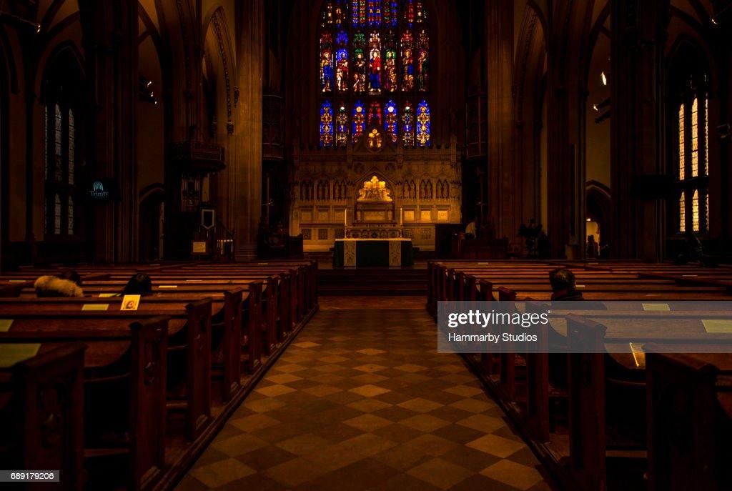 Inside of Trinity Church in Lower Manhattan, New York City : Stock Photo
