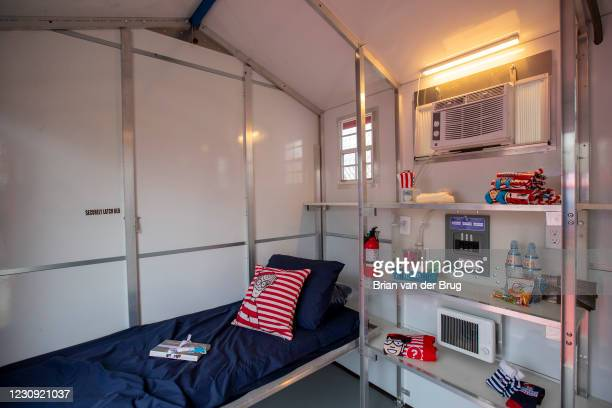Inside one of the 39 units at a new Tiny Homes community to house people who are experiencing homelessness on Monday, Feb. 1, 2021 in North...