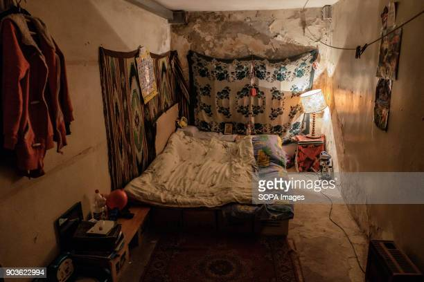 Inside one of the room Typical bed in the bunker made of empty cardboard boxes The conflict between the Russian backed rebels and the Ukrainian arm...
