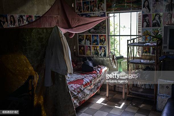Inside one of the squatted apartments is seen during a protest at the Borei Keila site in Phnom Penh Cambodia on January 3 2017 Families were evicted...