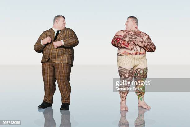 Inside Outside Opposites: fat man with suit and his mirror self with tattooed body