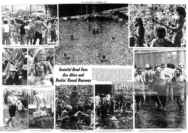inside pages from the Daily News of September 4 headline reads 'Grateful Dead Fans are Alive and Rockin' Round Raceway Story on concert at...