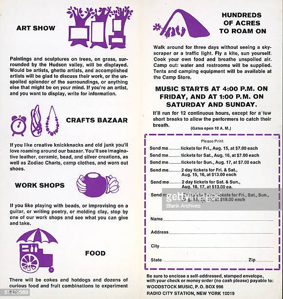 Inside pages of the brochure for ordering tickets to the 1969 Woodstock Music and Art Festival Tickets for the entire three day event were $18 $7 for...