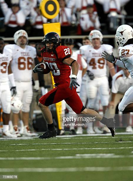 Inside receiver Danny Amendola of the Texas Tech University Red Raiders carries the ball against the University of Texas at Austin Longhorns during...