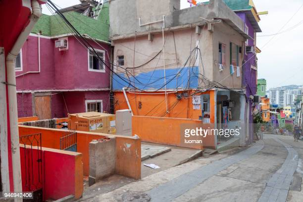 inside rocinha favela in rio de janeiro - favela imagens e fotografias de stock