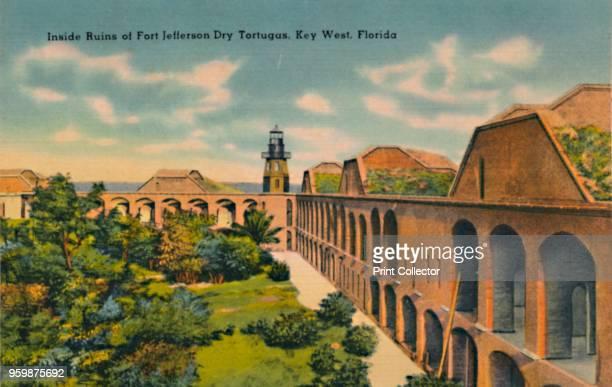 Inside Ruins of Fort Jefferson Dry Tortugas Key West Florida' circa 1940s From Souvenir Folder of Quaint Key West Fla [Tichnor Quality Views Boston...