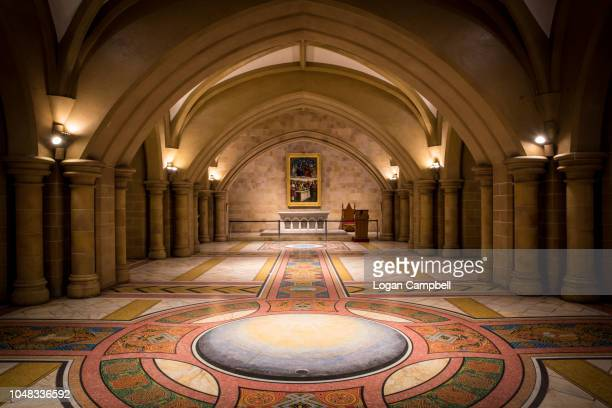 inside saint mary's cathedral church interior crypt - crypt stock photos and pictures