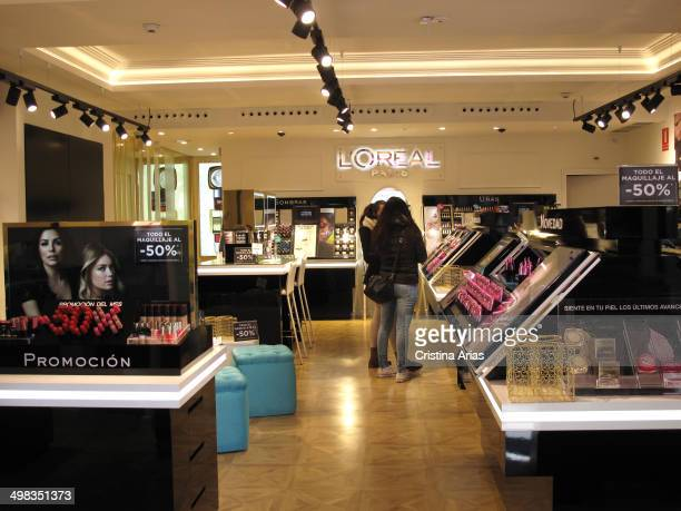 Inside Shop of the French cosmetics brand L'Oreal in Fuencarral street in Madrid, Spain.