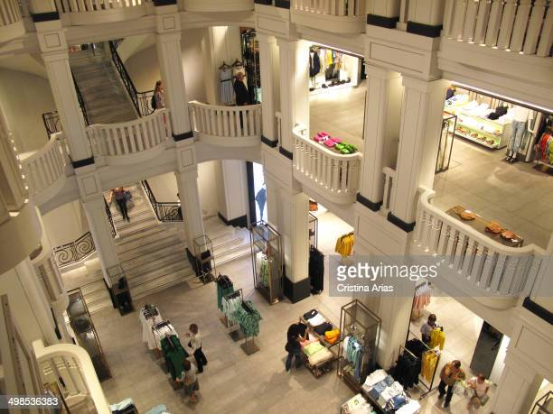 Inside shop Zara In Gran Via in Madrid on the renovation completed in 2013 have been used all the details for a renewal of the image of this leading...