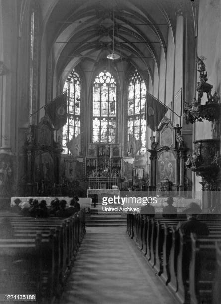 Inside St. Mary's pilgrimage church at Klausen on river Moselle, Germany 1930s.