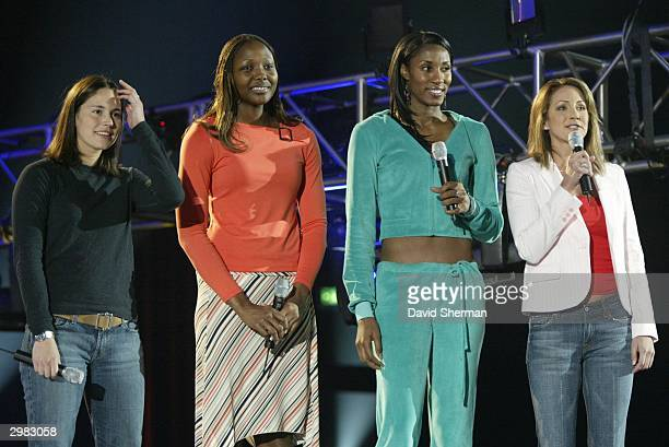 Inside Stuff host Summer Sanders with Sue Bird of the Seattle Storm Cheryl Ford of the Detroit Shock and Lisa Leslie of the Los Angeles Sparks during...
