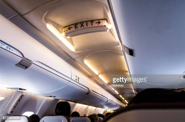 Inside the airplane.