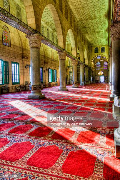 inside the al-aqsa mosque - al aqsa mosque stock pictures, royalty-free photos & images