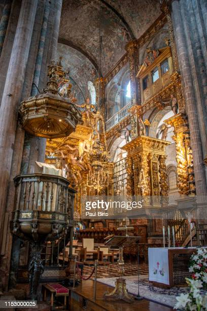 inside the cathedral of santiago de compostela, spain - santiago de compostela stock pictures, royalty-free photos & images