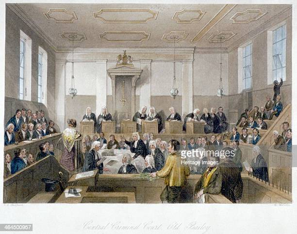 Inside the Central Criminal Court Old Bailey with a court in session City of London 1840