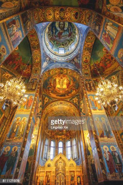 inside the church of the savior on spilled blood, st. petersburg - st. petersburg russia stock pictures, royalty-free photos & images
