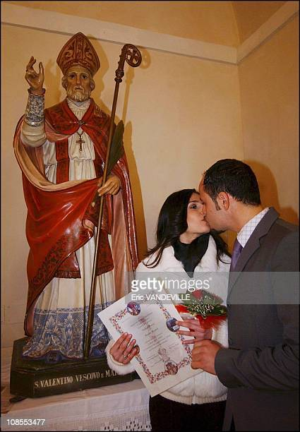 Inside the church paintings referring to events in the life of Saint Valentine in Terni Italy on January 20th 2004 Every year on February 14th...