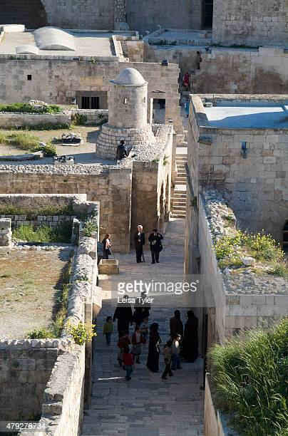 Inside the citadel a large medieval fortified palace in the centre of the old city of Aleppo Syria before the civil war It is built on top of a...