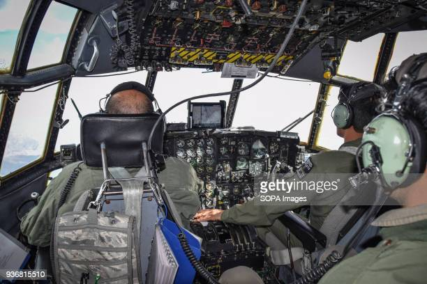 Inside the cockpit of a Lockheed C130 Hercules transport aircraft of the Afghan Air Force somewhere in the sky between Herat and Kandahar Airpower is...