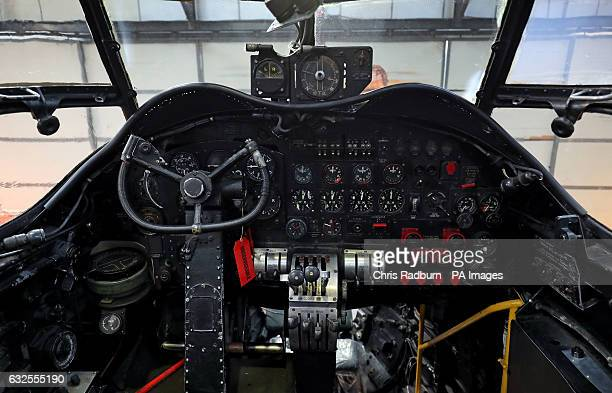 Inside the cockpitt of the Avro Lancaster NX611 'Just Jane' as restoration works continue on the aircraft at Lincolnshire Aviation Heritage Centre at...