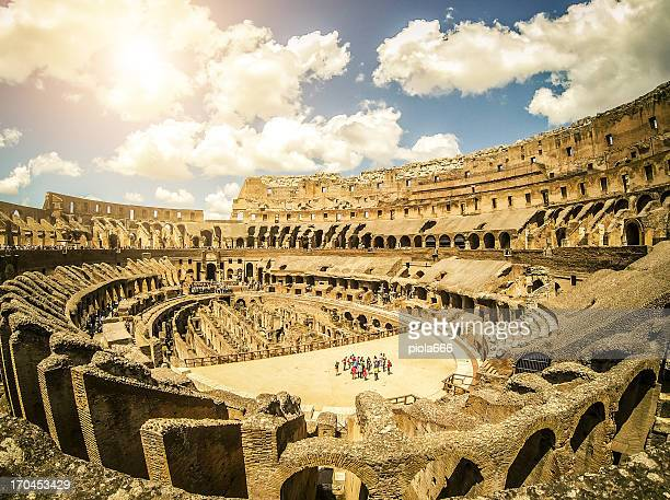 inside the coliseum - inside the roman colosseum stock photos and pictures