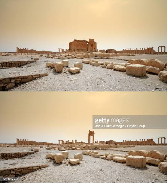 inside the destroyed temple of bel, palmyra, syria. before and after. - palmyra stockfoto's en -beelden