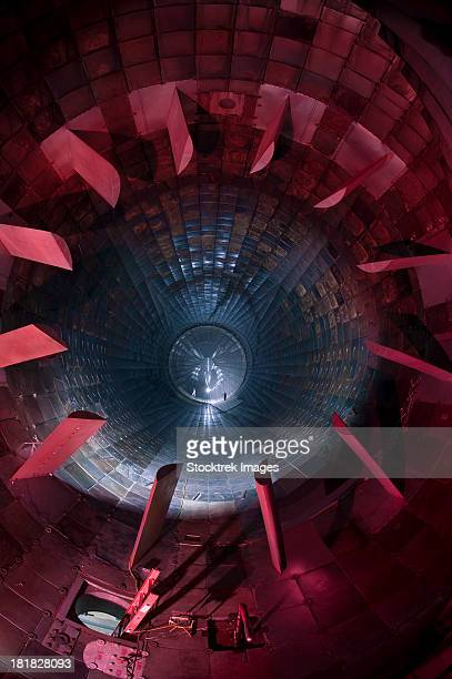 inside the diffuser section of a 16-foot supersonic wind tunnel. - wind tunnel testing stock photos and pictures