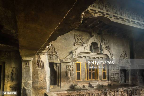 inside the ellora caves - antiquities stock pictures, royalty-free photos & images