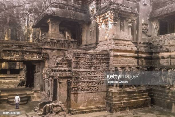inside the ellora caves - ellora stock pictures, royalty-free photos & images