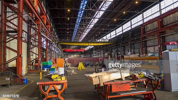 Inside the former Hillside Railway Engineering Workshop in Dunedin New Zealand which was closed in December 2012 Taken December 2012