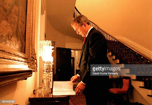 Inside the Governor's Mansion Texas Governor George Bush awaits final results on election night November 8 2000 in Austin Texas