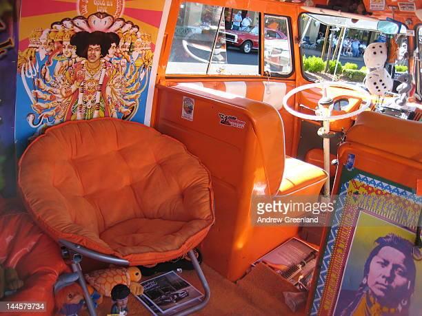 Inside the hippie van