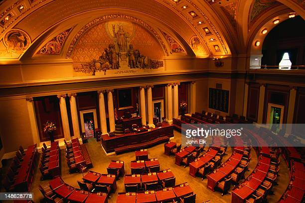 inside the house chamber of the minnesota state capitol - minneapolis-st paul, minnesota - house of representatives stock pictures, royalty-free photos & images