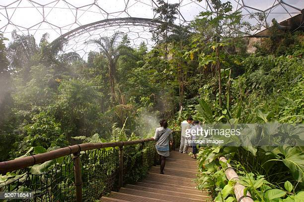 Inside the Humid Tropics Biome Eden Project near St Austell Cornwall The brainchild of Tim Smit the Eden Project is an environmental and educational...