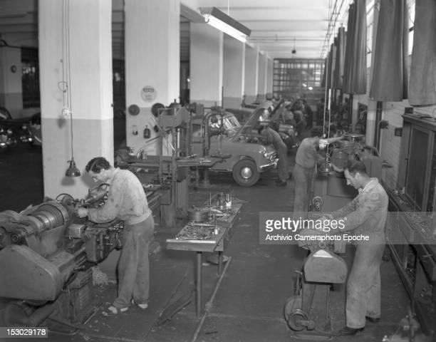 Inside the machine shop at the Autorimessa Piazzale Roma Venice Italy circa 1950