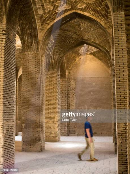 Inside the Masjede Jame in Esfahan the oldest Friday mosque in Iran The mosque is a good example of the evolution of Iranian Islamic mosque...