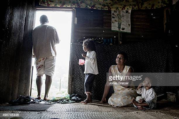 Inside the Mela Mataunitogas house in the village Naviavia which has just been bought from Fiji by Kiribati to ensure that Kiribati islanders have a...