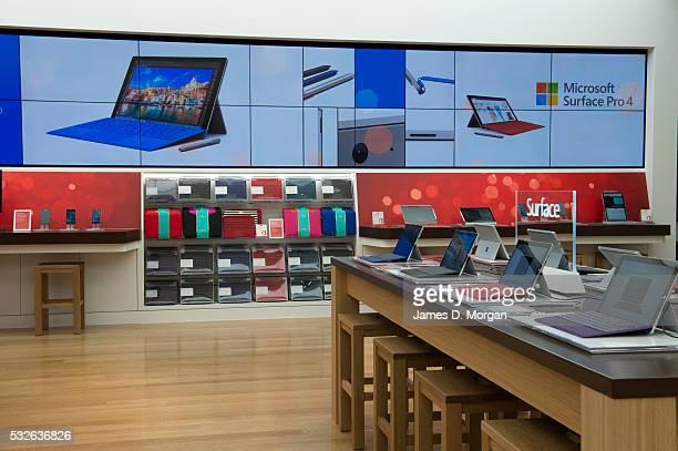 Inside the microsoft store in Pitt St Sydney before store opening on November 11 2015 in Sydney Australia