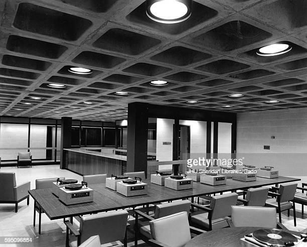 Inside the Milton S Eisenhower Library at Johns Hopkins University the audiovisual center includes a long table with multiple record players and...