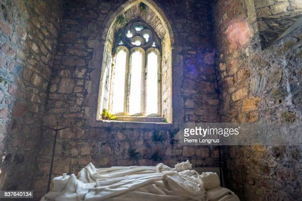 inside the monastery church, tomb of George Douglas, the 8th Duke of Argyll and his wife - Iona Abbey, Isle of Iona, Inner Hebrides, Scotland