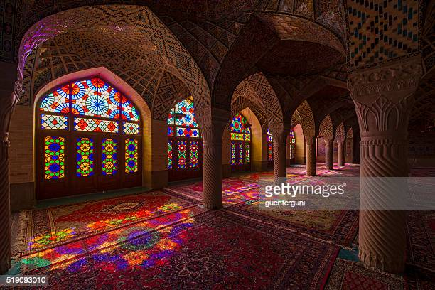 inside the nasir ol molk mosque in shiraz, iran - persian culture stock photos and pictures