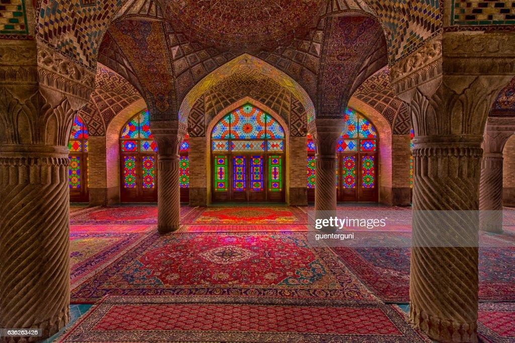 Inside the Nasir ol Molk Mosque in Shiraz, Iran : Stock Photo