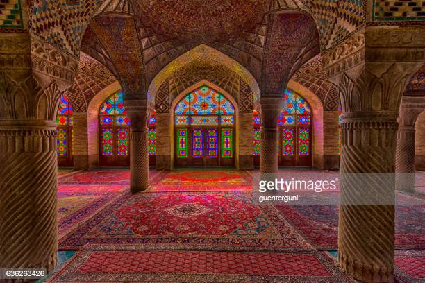 inside the nasir ol molk mosque in shiraz, iran - iran stockfoto's en -beelden