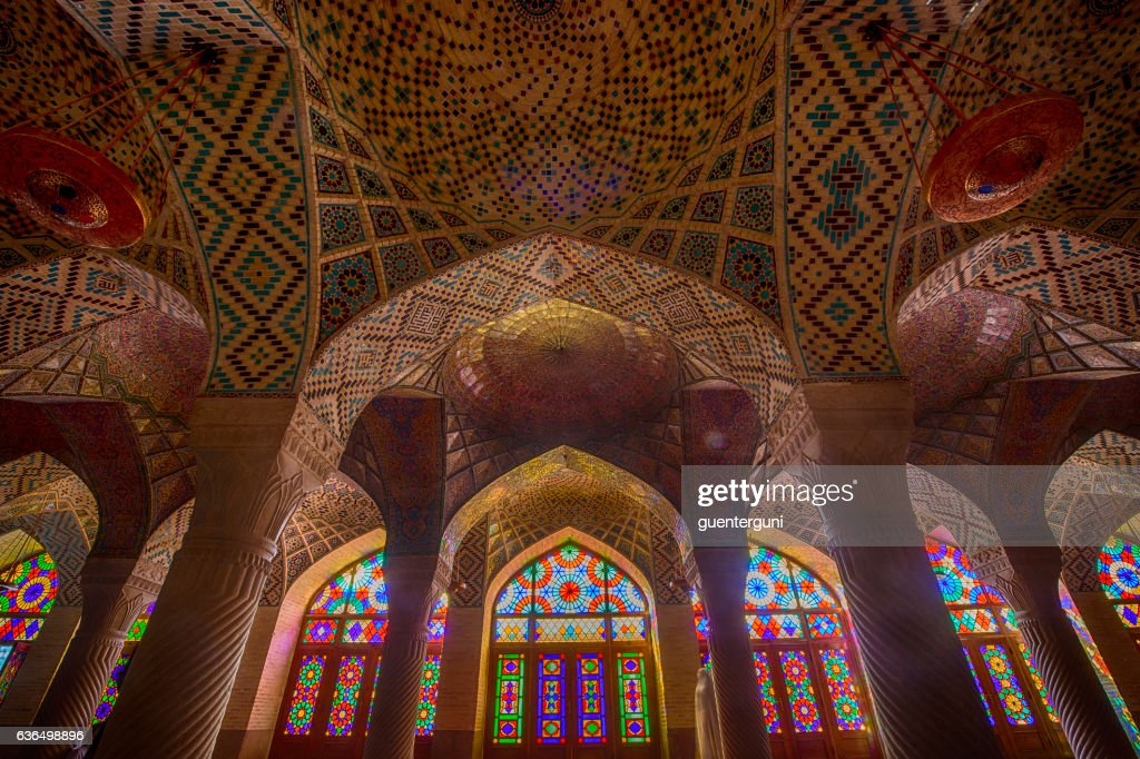 Inside the Nasir ol Molk Mosque in Shiraz, Iran : Stock Photo