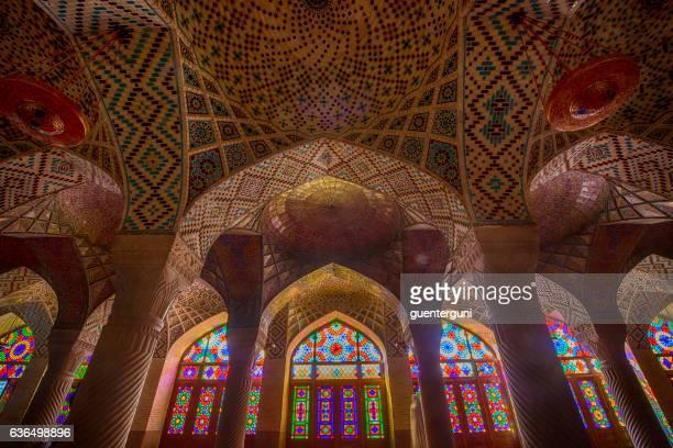 inside the nasir ol molk mosque in shiraz, iran - shiraz stock photos and pictures