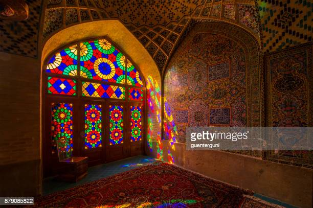inside the nasir ol molk mosque in shiraz, iran - iranian culture stock photos and pictures